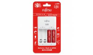 Fujitsu Eco Pack Basic Charger with 2pcs AA 950mah Battery (made in Japan) FCT345CEFXL(B)