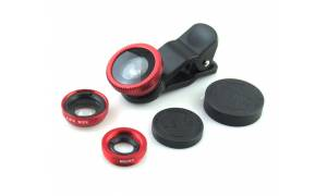 Universal Clip 3 In 1 Fisheye-lens Wide-angle Macro Lens Kit LS001 Red