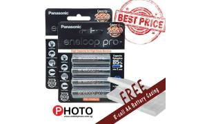 [Made in Japan] (2-pack) AA Size Panasonic Eneloop PRO 2550mAh Rechareable Batteries (Pre-Charged and Rechargeable) with FREE 8 cell Battery Case